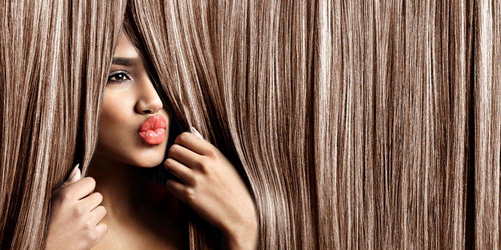 woman looking through hair
